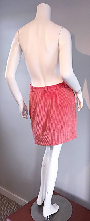 Vintage Kenzo Coral Pink Corduroy 1980s 80s Mini Skirt For ...