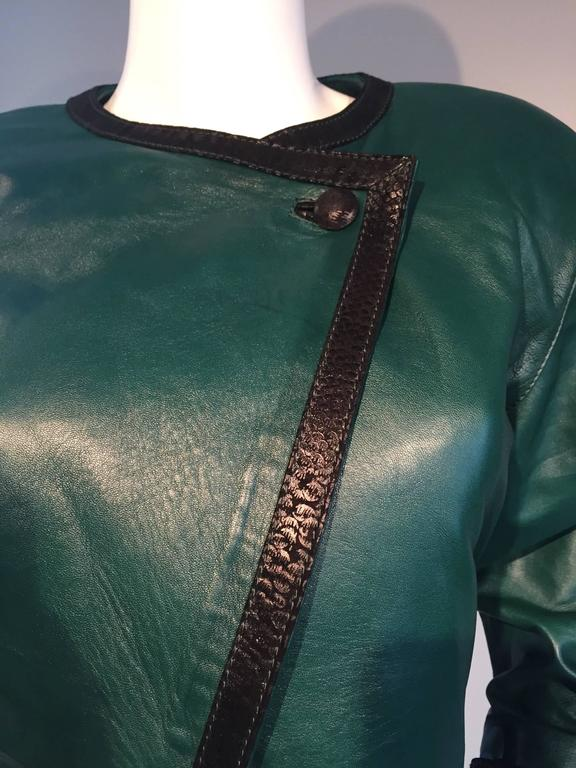Filippo Burgio Vintage Tulipano Leather of Florence Hunter Green Cropped Bolero 7