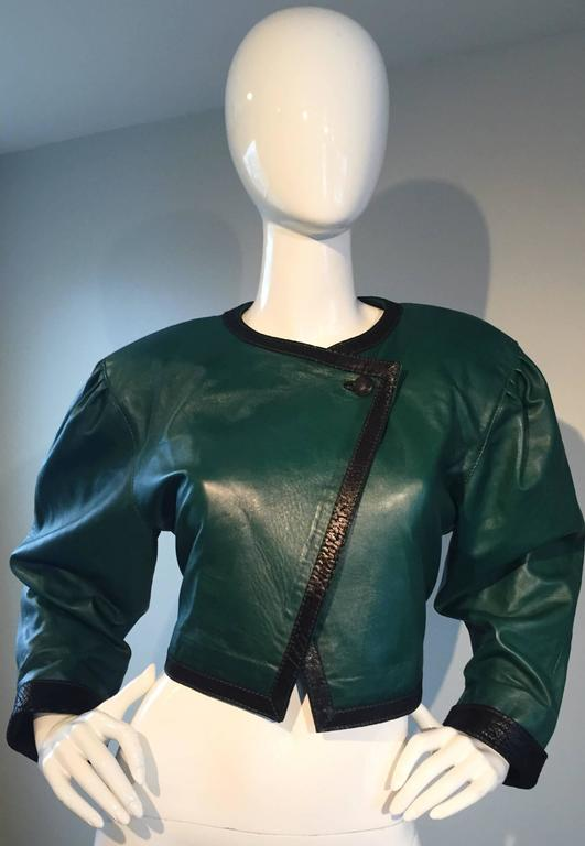 Filippo Burgio Vintage Tulipano Leather of Florence Hunter Green Cropped Bolero 4