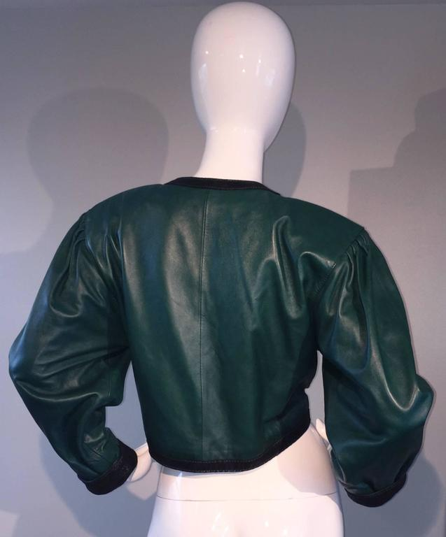 Filippo Burgio Vintage Tulipano Leather of Florence Hunter Green Cropped Bolero 3