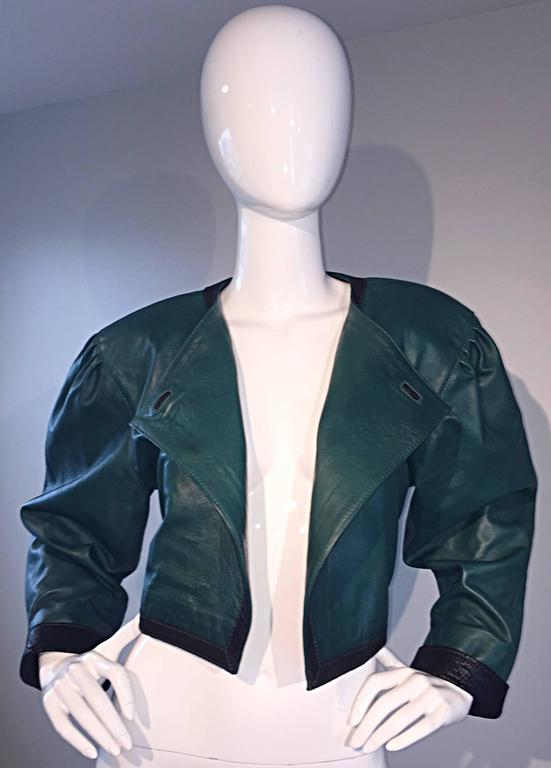 Filippo Burgio Vintage Tulipano Leather of Florence Hunter Green Cropped Bolero 5