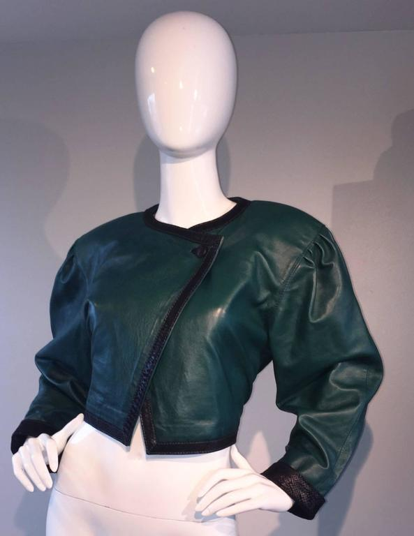 Filippo Burgio Vintage Tulipano Leather of Florence Hunter Green Cropped Bolero 2