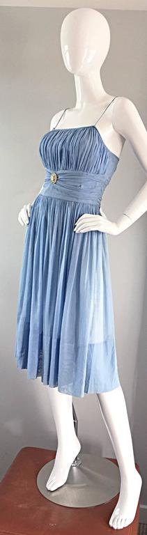 Chic 1950s 50s Light Pale Blue Cotton Pleated Ruched Full Skirt Dress, w/ Cameo  7