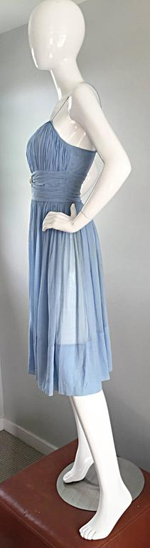 Chic 1950s 50s Light Pale Blue Cotton Pleated Ruched Full Skirt Dress, w/ Cameo  8