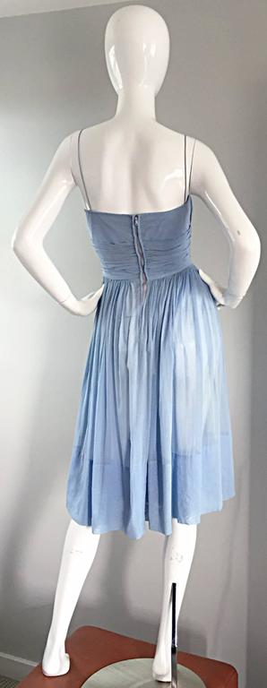 Chic 1950s 50s Light Pale Blue Cotton Pleated Ruched Full Skirt Dress, w/ Cameo  2