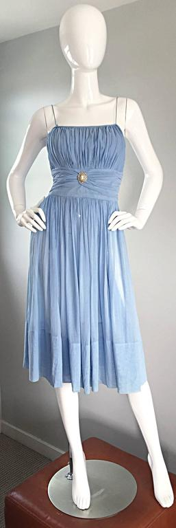 Chic 1950s 50s Light Pale Blue Cotton Pleated Ruched Full Skirt Dress, w/ Cameo  4