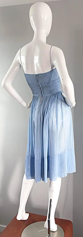 Chic 1950s 50s Light Pale Blue Cotton Pleated Ruched Full Skirt Dress, w/ Cameo  3