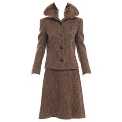 Dolce & Gabbana Brown Tweed Skirt Suit With Fur Collar