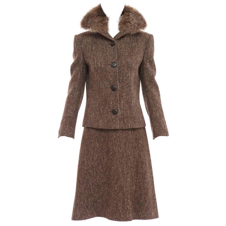 Dolce & Gabbana Brown Tweed Skirt Suit With Fur Collar