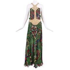 Missoni Silk Chiffon Foral Printed Halter Neck Evening Dress w/Beaded Trim