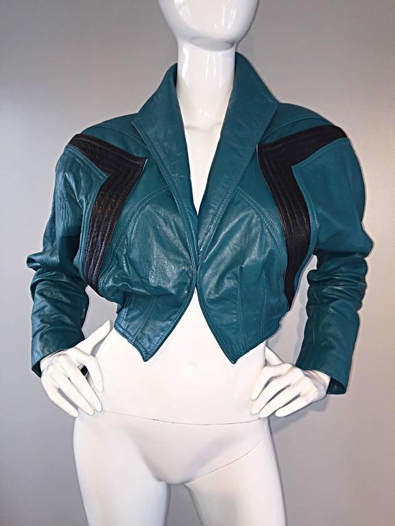 Avant Garde Kelli Kouri Leather Vintage Teal Blue + Black Cropped Bolero Jacket 4