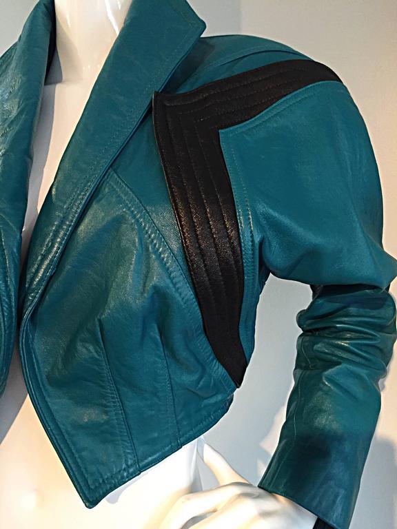 Avant Garde Kelli Kouri Leather Vintage Teal Blue + Black Cropped Bolero Jacket 8