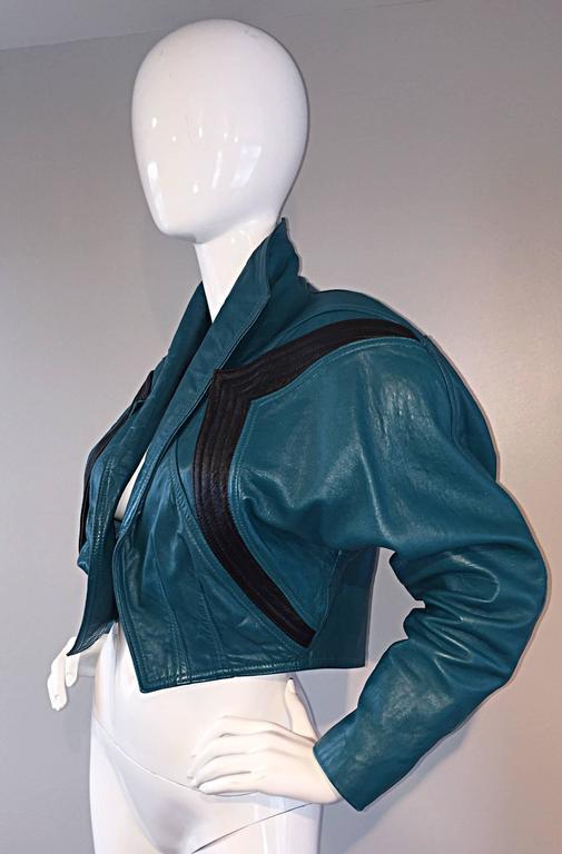 Avant Garde Kelli Kouri Leather Vintage Teal Blue + Black Cropped Bolero Jacket 7