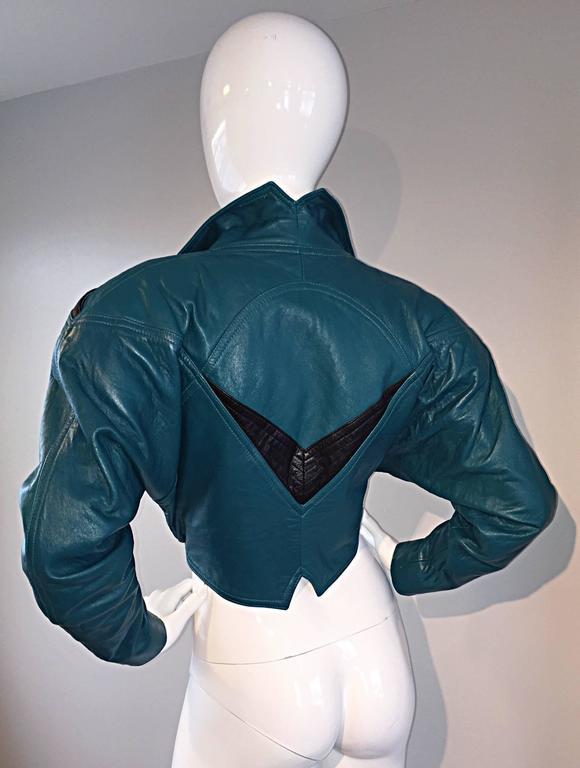 Avant Garde Kelli Kouri Leather Vintage Teal Blue + Black Cropped Bolero Jacket 9