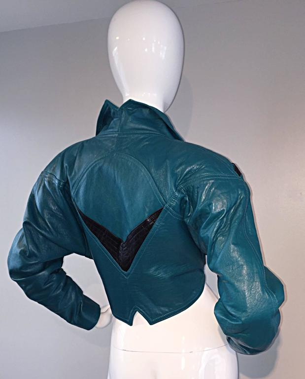 Avant Garde Kelli Kouri Leather Vintage Teal Blue + Black Cropped Bolero Jacket In Excellent Condition For Sale In San Francisco, CA
