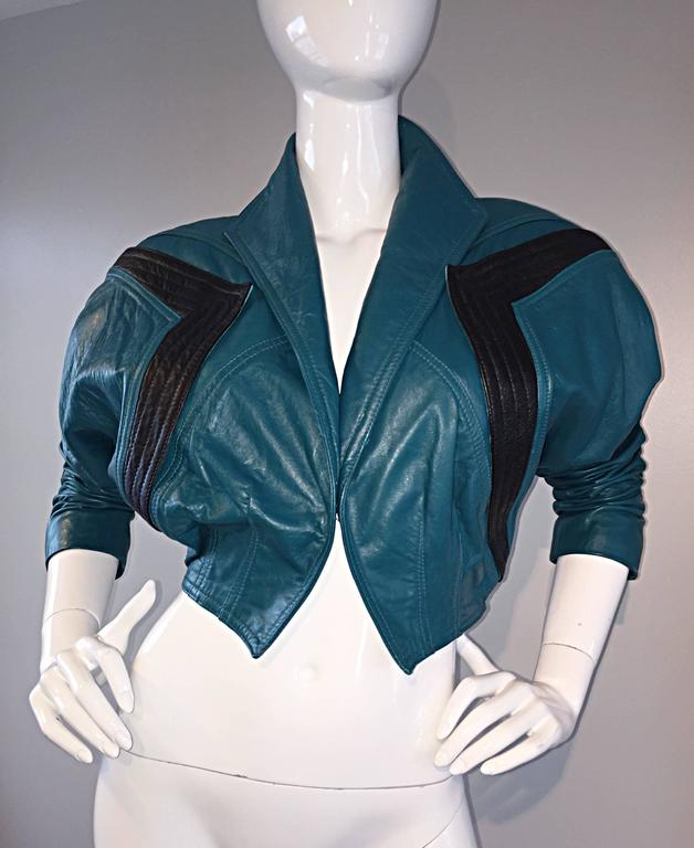 Avant Garde Kelli Kouri Leather Vintage Teal Blue + Black Cropped Bolero Jacket 5