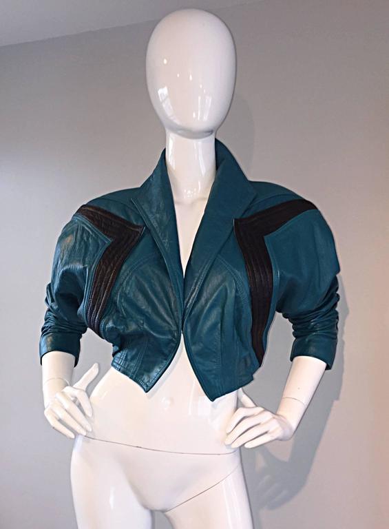 Avant Garde Kelli Kouri Leather Vintage Teal Blue + Black Cropped Bolero Jacket 6
