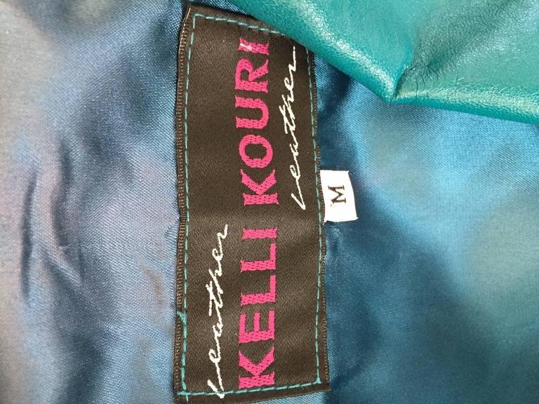 Avant Garde Kelli Kouri Leather Vintage Teal Blue + Black Cropped Bolero Jacket 10