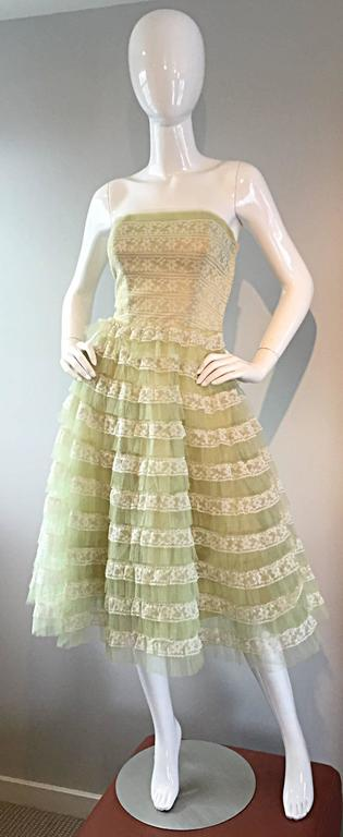 Beautiful 1950s 50s Light Green Chantilly Lace Strapless Vintage Cocktail Dress 2
