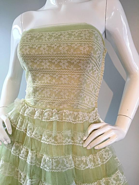 Beautiful 1950s 50s Light Green Chantilly Lace Strapless Vintage Cocktail Dress 4