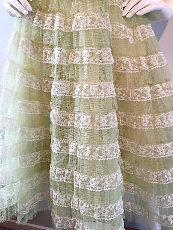 Beautiful 1950s 50s Light Green Chantilly Lace Strapless Vintage Cocktail Dress 5