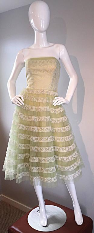 Beautiful 1950s 50s Light Green Chantilly Lace Strapless Vintage Cocktail Dress 6