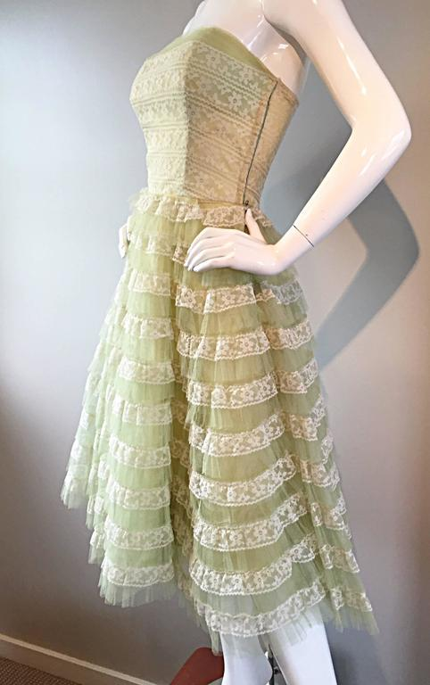 Beautiful 1950s 50s Light Green Chantilly Lace Strapless Vintage Cocktail Dress 7