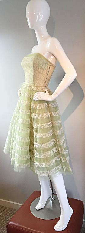 Beautiful 1950s 50s Light Green Chantilly Lace Strapless Vintage Cocktail Dress 3