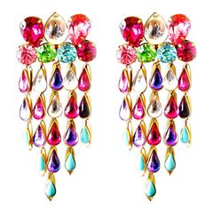 "Yves Saint Lauent Rive Gauche 4"" Long Glass Chandelier Cabochon Earrings 1970s"
