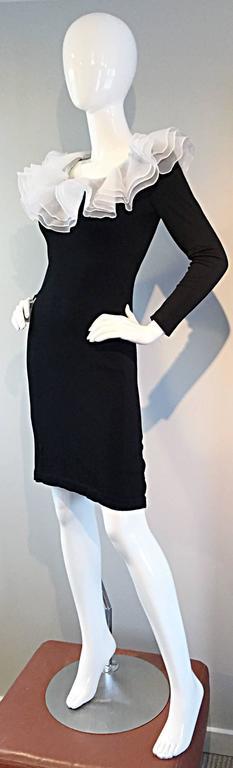 Incredible Vintage Jill Richards Black & White Ruffle Body Con Long Sleeve Dress For Sale 4