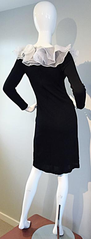 Incredible Vintage Jill Richards Black & White Ruffle Body Con Long Sleeve Dress For Sale 1