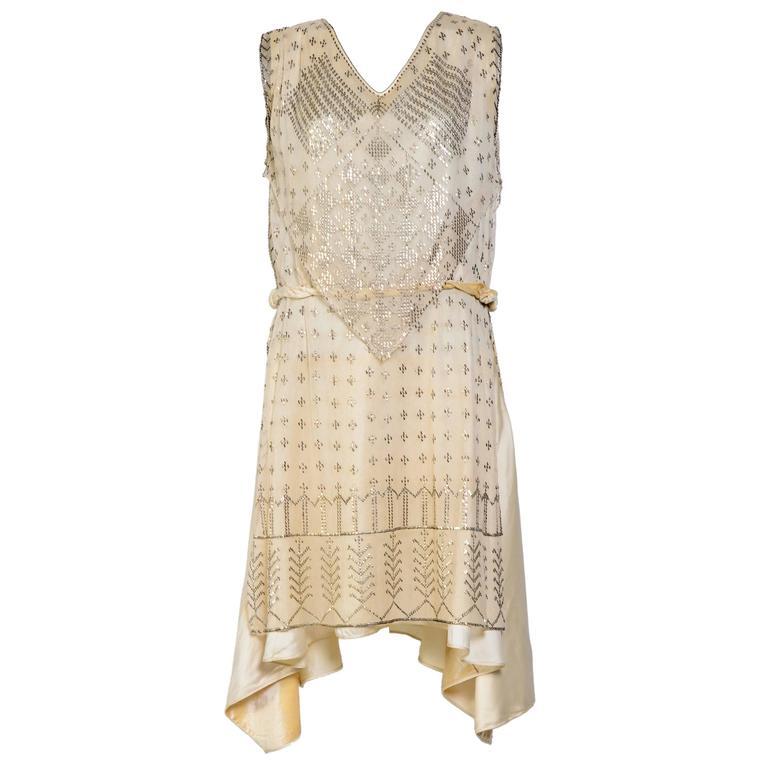 Rare Vintage 1920's Art Deco Era Assuit Cream Dress  For Sale
