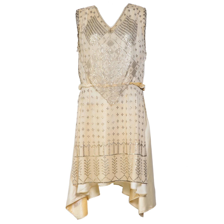 Rare Vintage 1920's Art Deco Era Assuit Cream Dress At 1stdibs