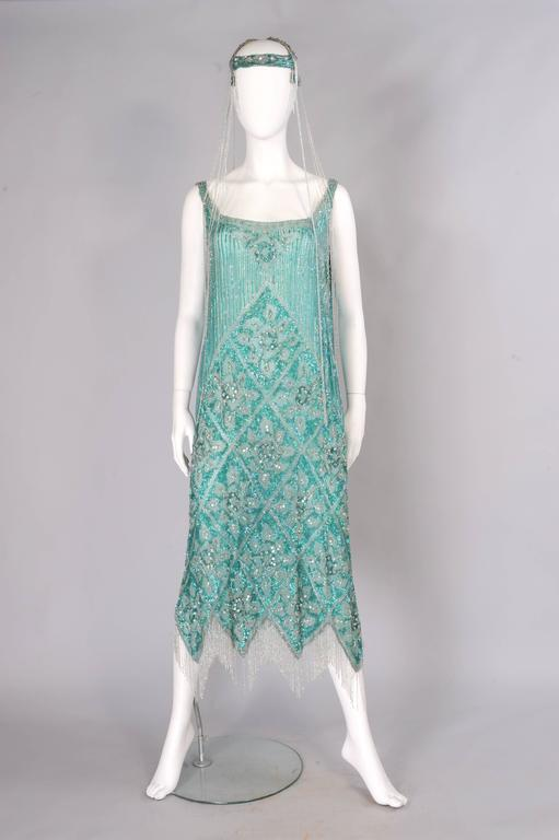 1920's French Beaded Flapper Dress & Rare Matching Headpiece For Sale 6