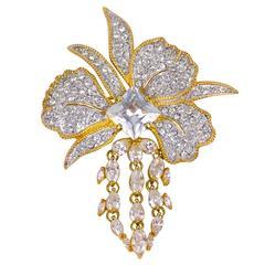 Nolan Miller Pave CZ Crystal Floral Brooch Pin