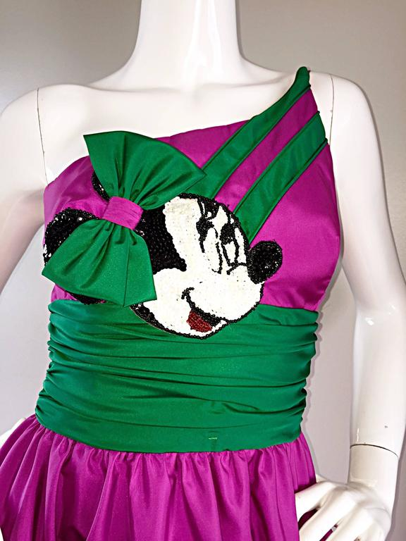 Limited Edition Vintage 1980s Mike Benet Minnie Mouse Purple One Shoulder Dress For Sale 5