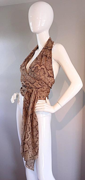 Extraordinary Vintage Sophie Sitbon Snakeskin Python Print Silk Halter Top Shirt 5