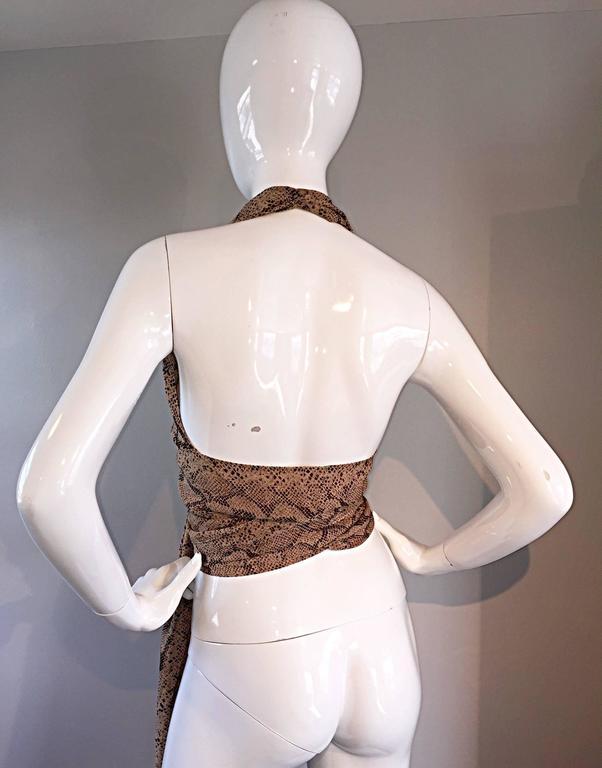 Extraordinary Vintage Sophie Sitbon Snakeskin Python Print Silk Halter Top Shirt 6
