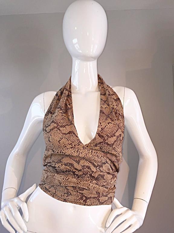 Extraordinary Vintage Sophie Sitbon Snakeskin Python Print Silk Halter Top Shirt 7
