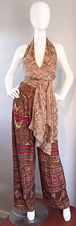 Extraordinary Vintage Sophie Sitbon Snakeskin Python Print Silk Halter Top Shirt 3