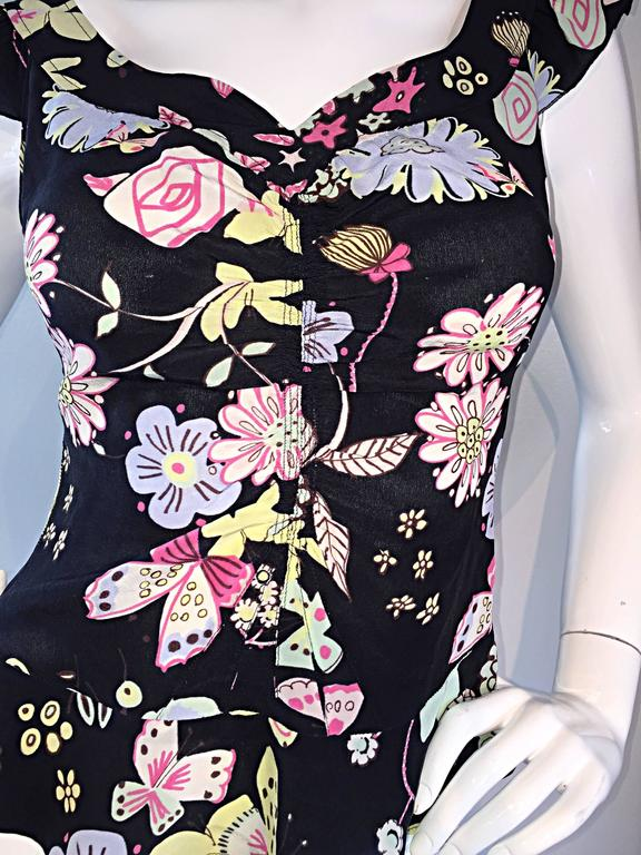 Vintage 90s Moschino Cheap & Chic ' Butterflies and Flowers ' Silk Flutter Top 9