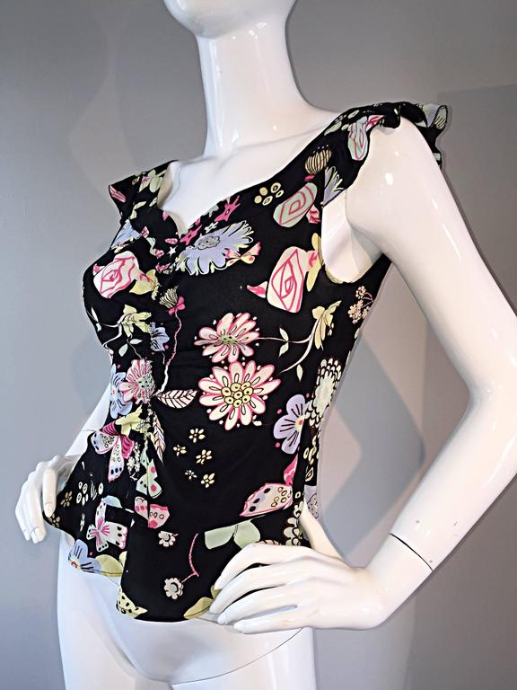 Vintage 90s Moschino Cheap & Chic ' Butterflies and Flowers ' Silk Flutter Top 7