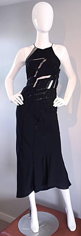 Beautiful Vintage Lillie Rubin Size 8 Cut Out Beaded Handkerchief Dress Size 8 In Excellent Condition For Sale In Chicago, IL