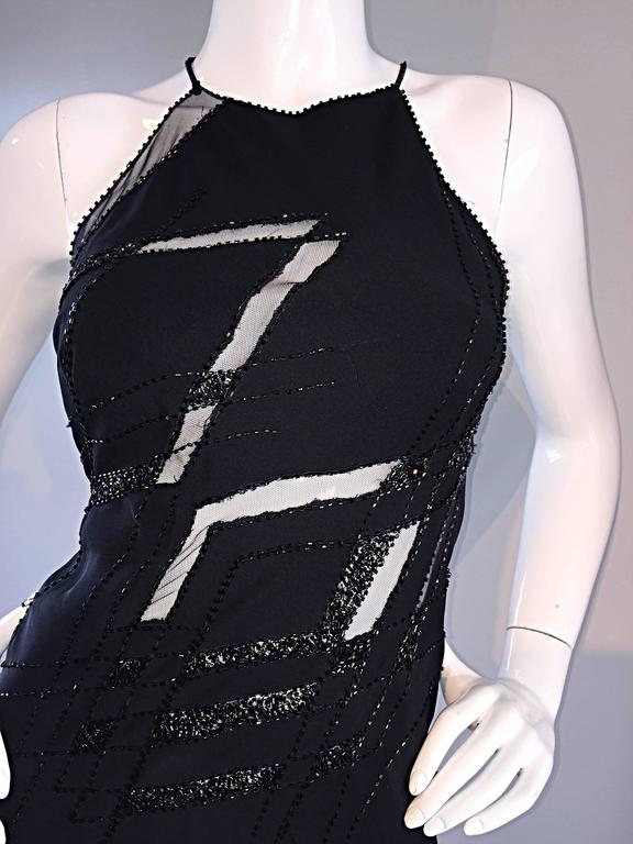 Beautiful Vintage Lillie Rubin Size 8 Cut Out Beaded Handkerchief Dress Size 8 For Sale 1