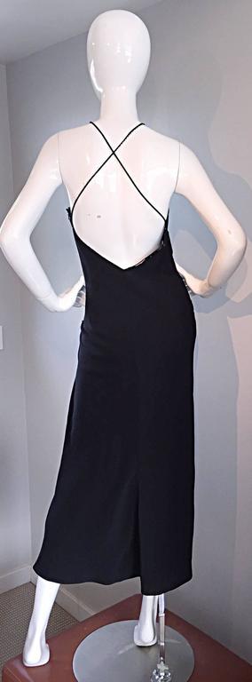Black Beautiful Vintage Lillie Rubin Size 8 Cut Out Beaded Handkerchief Dress Size 8 For Sale