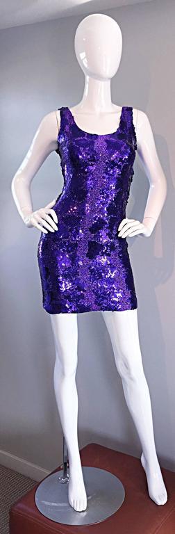 Sexy 1980s 80s Purple Sequin + Metallic Leopard Bodycon Vintage Mini Dress 5