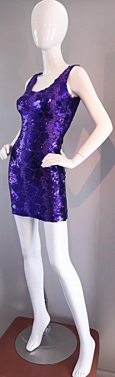 Sexy 1980s 80s Purple Sequin + Metallic Leopard Bodycon Vintage Mini Dress 3