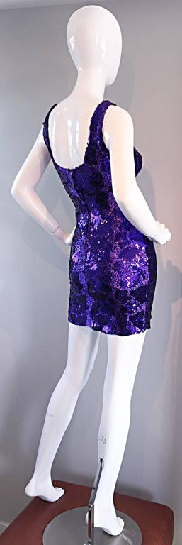 WOW! Super sexy, and very stylish purple sequin bodcon dress! All-over purple metallic, with hundreds of sequins, clustered to look like a leopard / cheetah print. Looks amazing on--hugs the body in all the right places! Well made, with a hidden