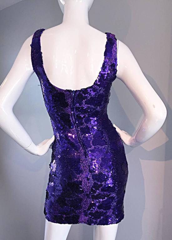 Sexy 1980s 80s Purple Sequin + Metallic Leopard Bodycon Vintage Mini Dress 7