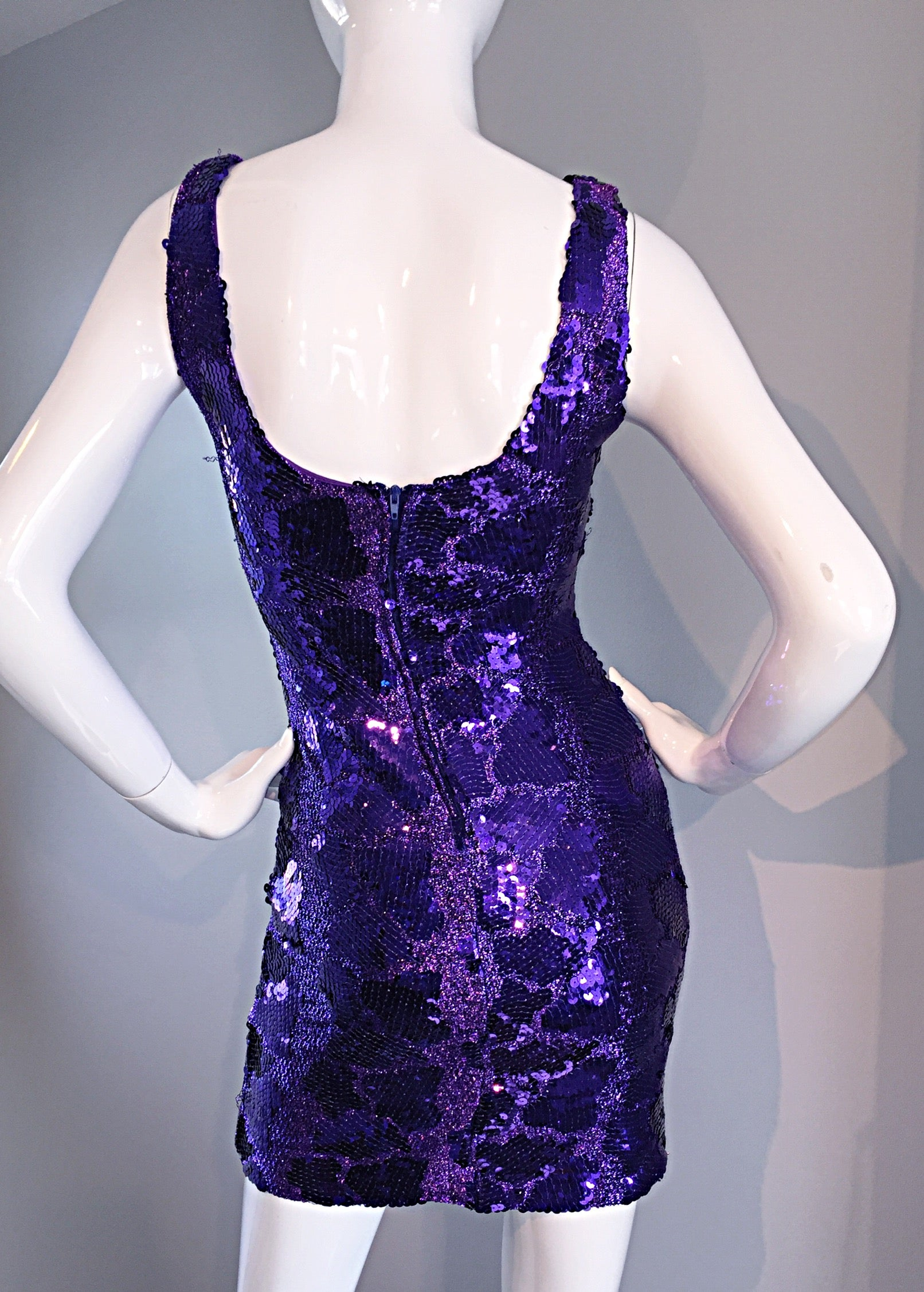 Sexy 1980S 80S Purple Sequin + Metallic Leopard Bodycon Vintage